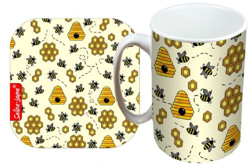 Selina-Jayne Bees Limited Edition Designer Mug and Coaster Gift Set
